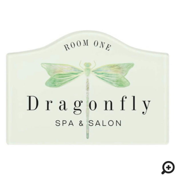 Elegant Mint Green Watercolor Dragonfly Logo Room Door Sign