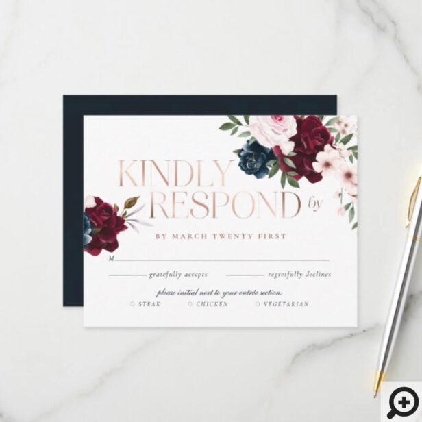 Elegant Navy Burgundy Floral Watercolor Rose Gold RSVP Card