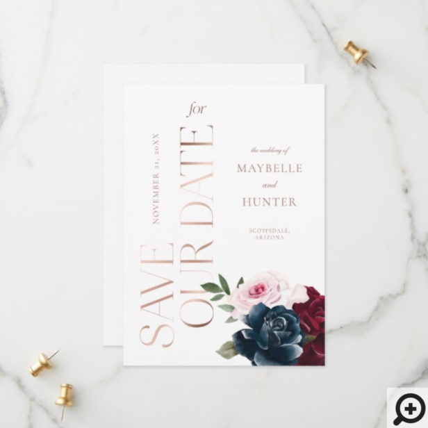 Elegant Navy Burgundy Watercolor Floral Rose Gold Save The Date