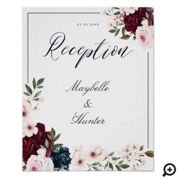 Elegant Reception Watercolor Burgundy Navy Floral Poster