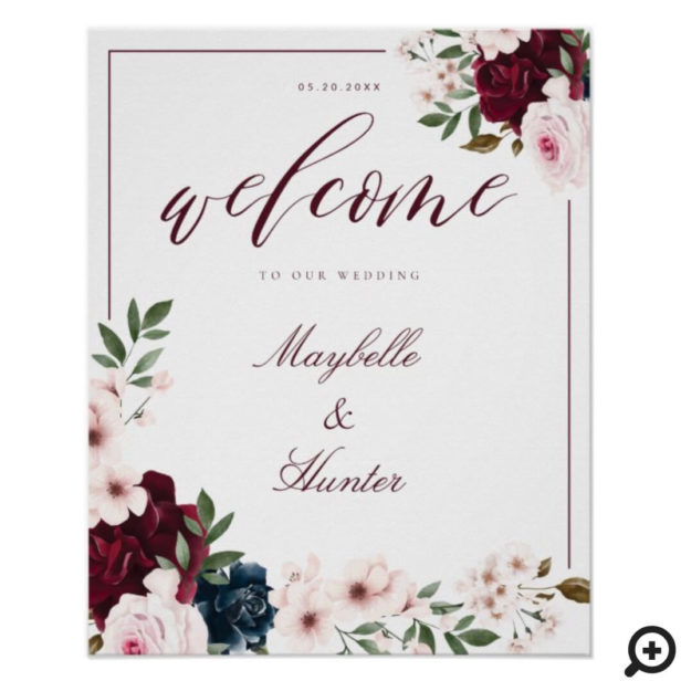 Elegant Welcome Watercolor Burgundy & Navy Floral Poster