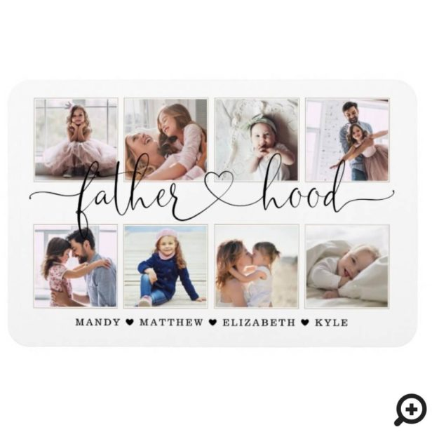 Fatherhood Script | Gift For fathers Photo Collage Magnet