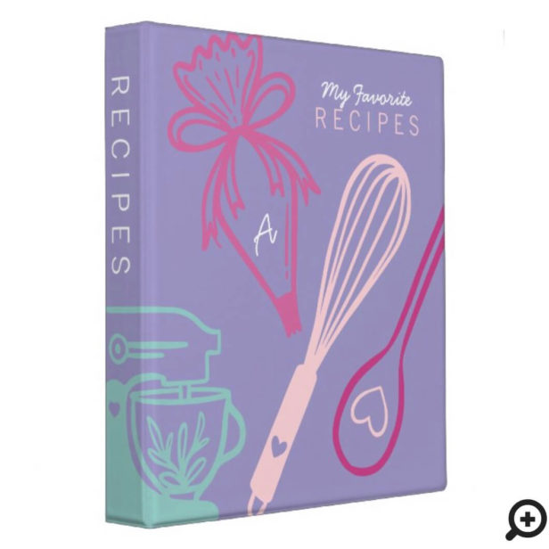 Favorite Recipes Baking & Cooking Utensil Purple 3 Ring Binder