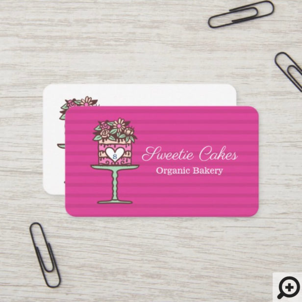 Floral Style Bakery Cake & Stand Logo Bright Pink Business Card