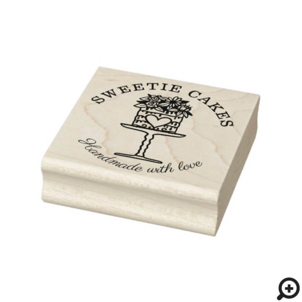 Floral Style Bakery Cake & Stand Logo Rubber Stamp