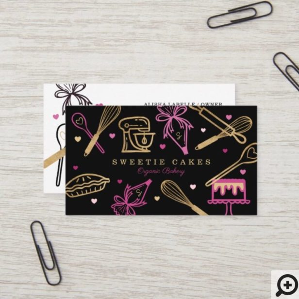 Fun Colorful Baking & Cooking Utensil Black & Gold Business Card