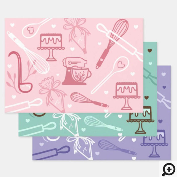 Fun Colorful Baking & Cooking Utensil Pattern Wrapping Paper Sheets