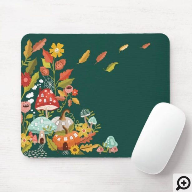 Fun Fairy Garden Autumn Leafs Mushrooms & Pumpkin Mouse Pad