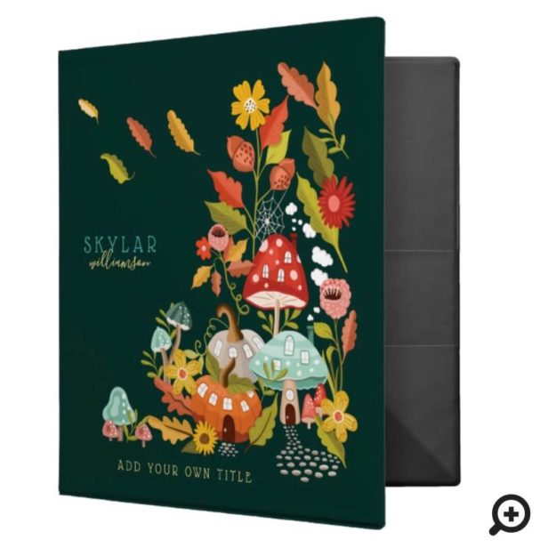 Fun Fairy Garden Autumn Leafs Mushrooms & Pumpkins 3 Ring Binder