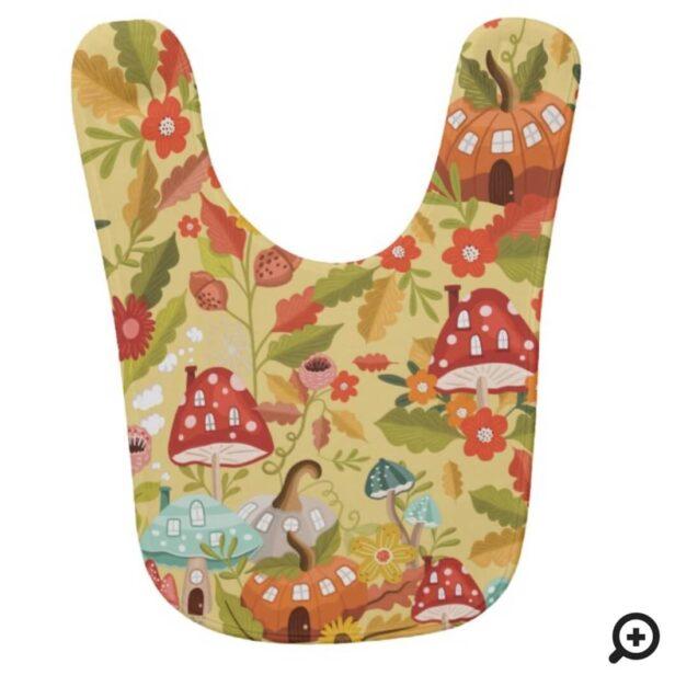 Fun Fairy Garden Autumn Leafs Mushrooms & Pumpkins Baby Bib Yellow