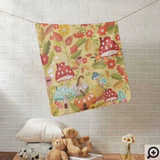 Fun Fairy Garden Autumn Leafs Mushrooms & Pumpkins Baby Blanket
