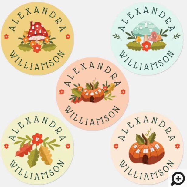 Fun Fairy Garden Autumn Leafs Mushrooms & Pumpkins Kids' Labels