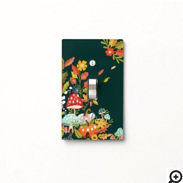 Fun Fairy Garden Autumn Leafs Mushrooms & Pumpkins Light Switch Cover