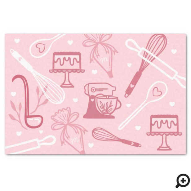 Fun Pink Baking & Cooking Utensil Pattern Tissue Paper
