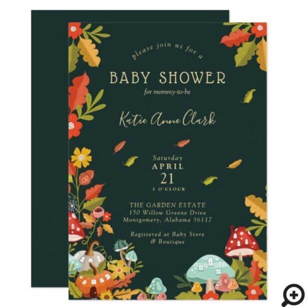Garden Autumn Leafs Mushroom & Pumpkin Baby Shower Invitation