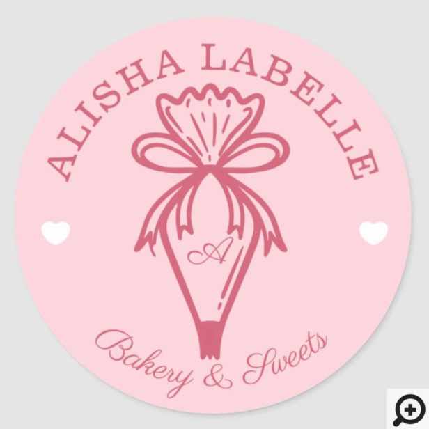 Handmade With Love Modern Bakery Piping Bag Pink Classic Round Sticker