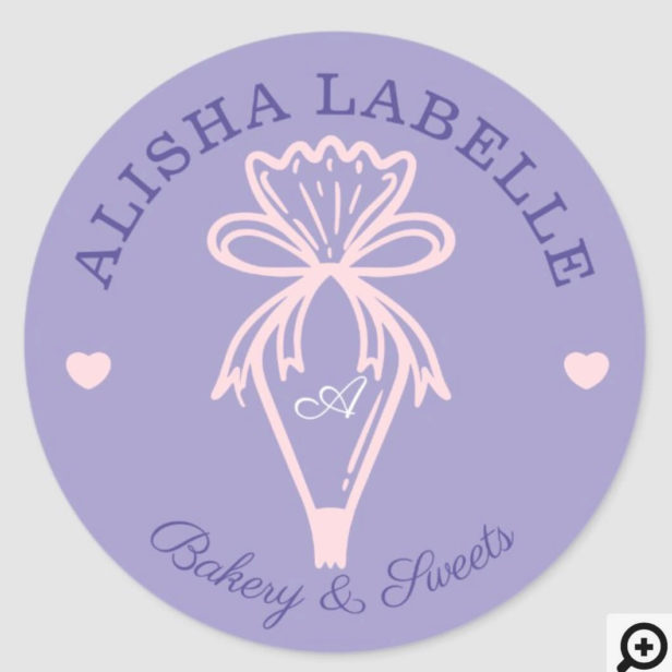 Handmade With Love Modern Bakery Piping Bag Purple Classic Round Sticker