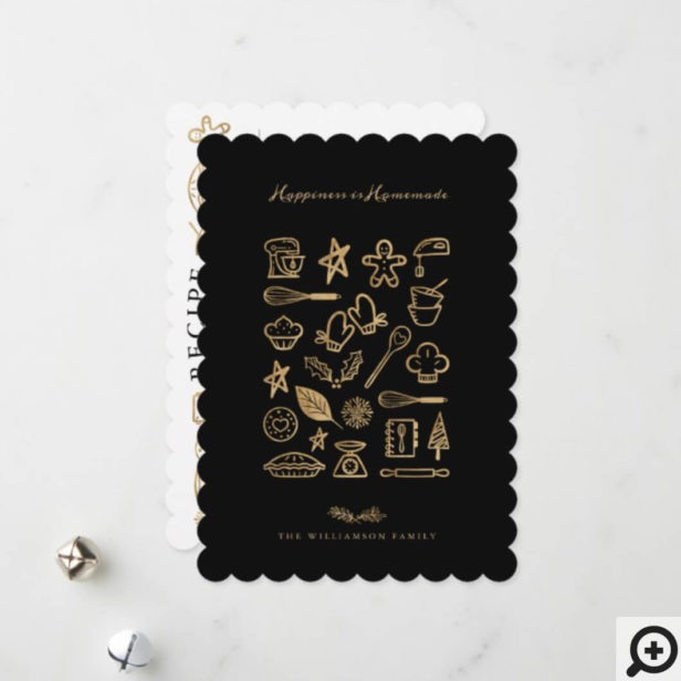 Happiness Is Homemade Gold & Black Baking Recipe Holiday Card