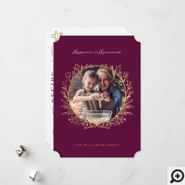 Happiness Is Homemade Gold Burgundy Baking Wreath Holiday Card
