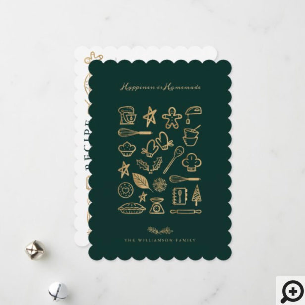 Happiness Is Homemade Gold & Green Baking Recipe Holiday Card