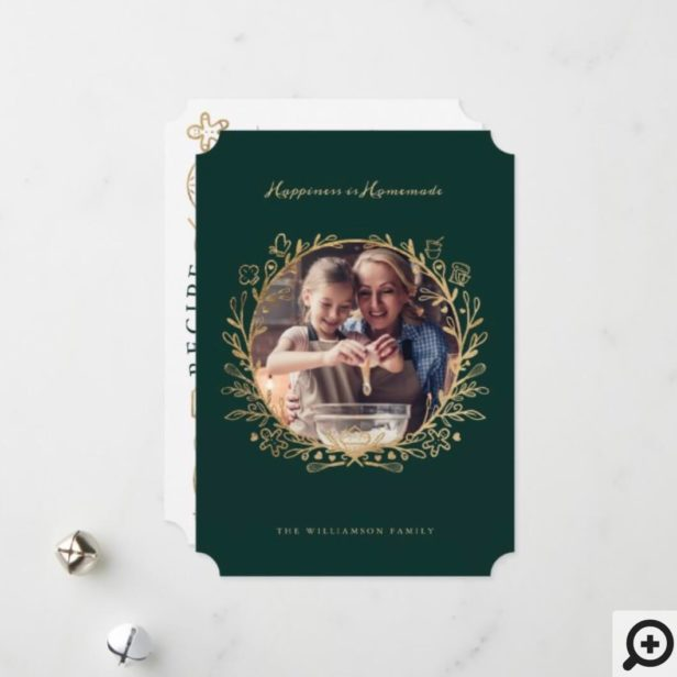 Happiness Is Homemade Gold & Green Baking Wreath Holiday Card