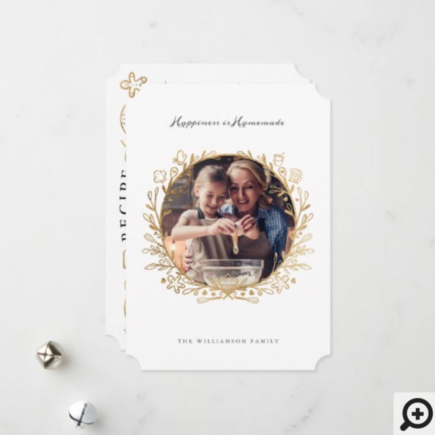 Happiness Is Homemade Gold & White Baking Wreath Holiday Card