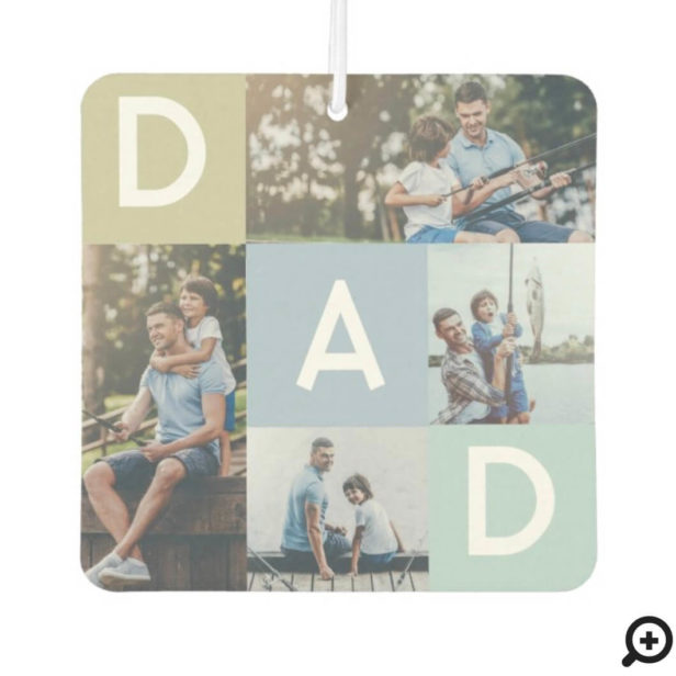 Happy Fathers Day Dad Modern Multi Photo Grid Air Freshener