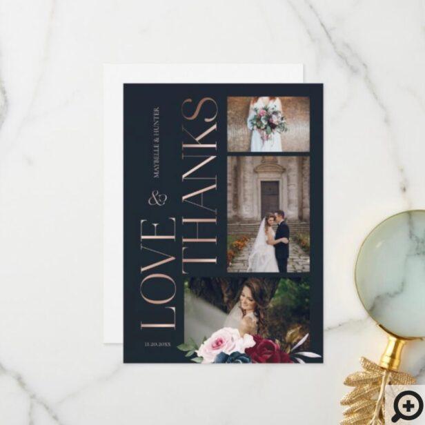 Love & Thanks Classy Navy Rose Gold Wedding Photos Thank You Card