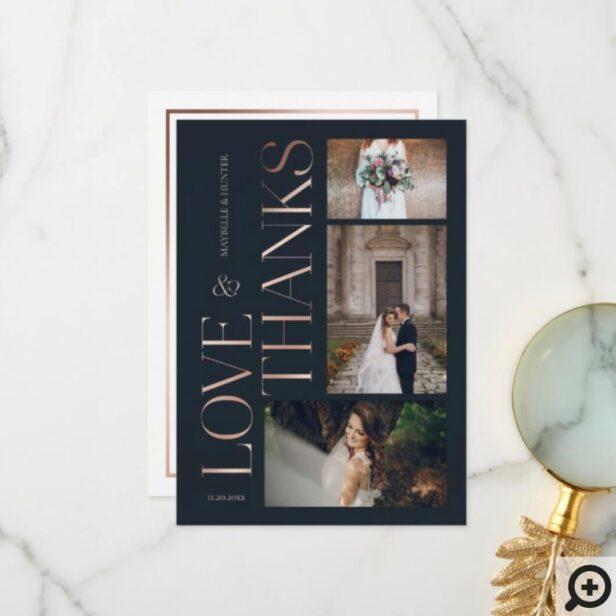 Love & Thanks Classy Navy Rose Gold Wedding Photos Thank You Card1