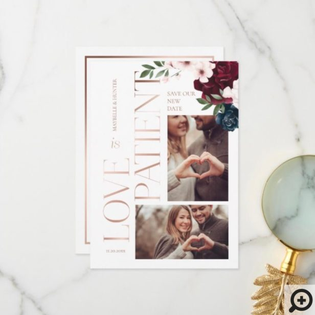 Love is Patient Rose Gold Burgundy Florals Photo Thank You Card