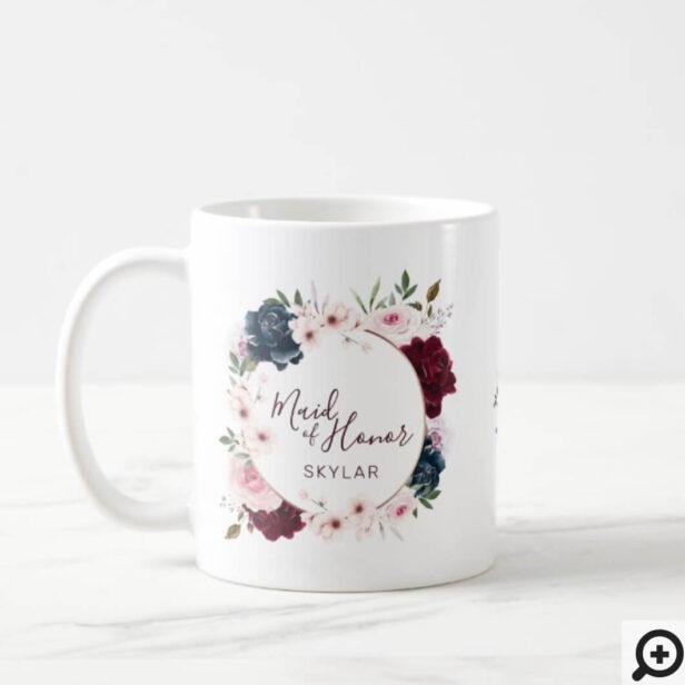 Maid of Honor Burgundy Navy Rose Watercolor Wreath Coffee Mug