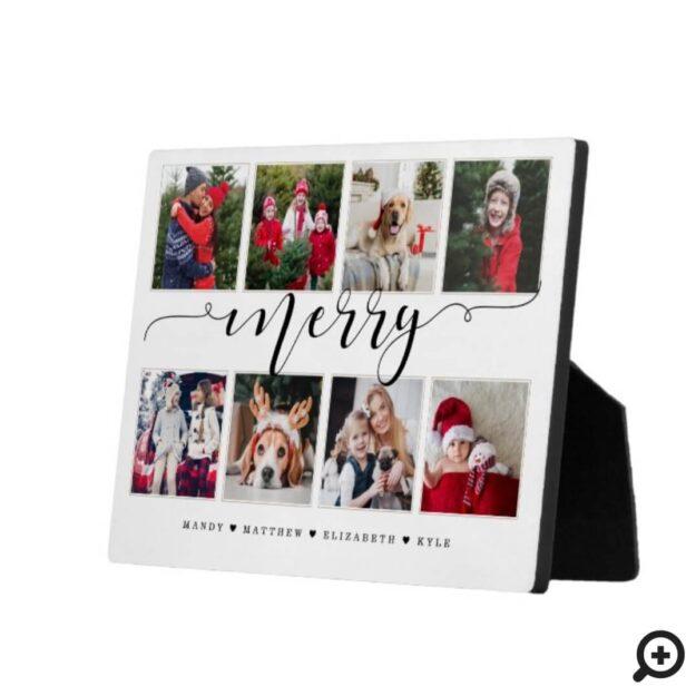 Merry Script Family Photo Keepsake Collage Plaque