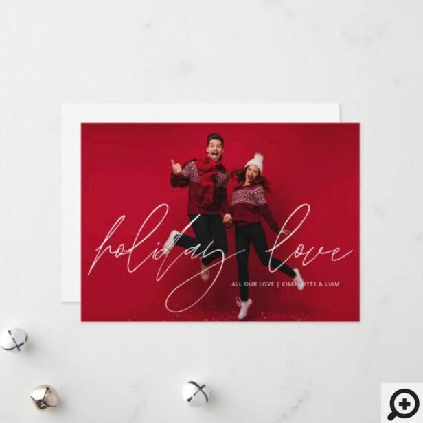 Minimal Holiday Love Calligraphy Photo Christmas