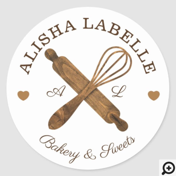 Minimal Wooden Rolling Pin & Whisk Bakery Logo Classic Round Sticker