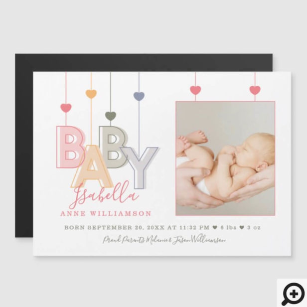 Modern Baby Letters Newborn Baby Girl Birth Photo