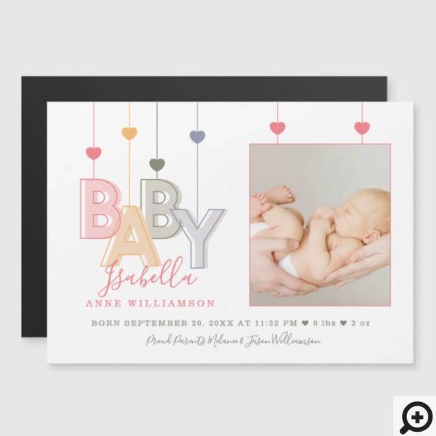 Modern Baby Letters Newborn Baby Girl Birth Photo