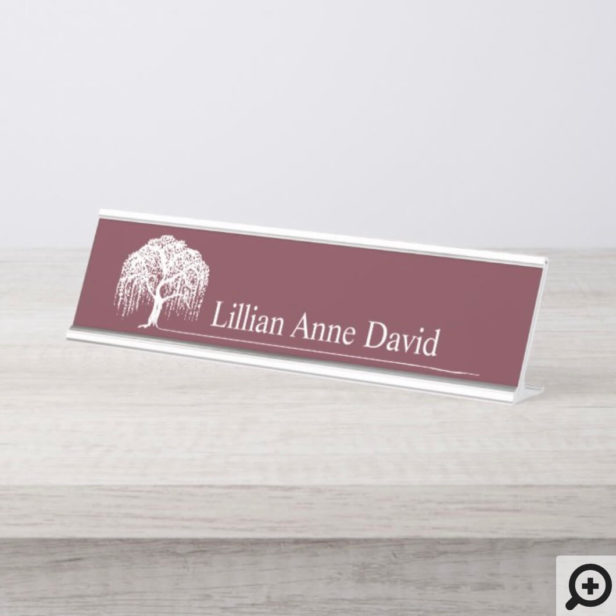 Modern Burgundy Willow Tree Logo Personalized Desk Name Plate