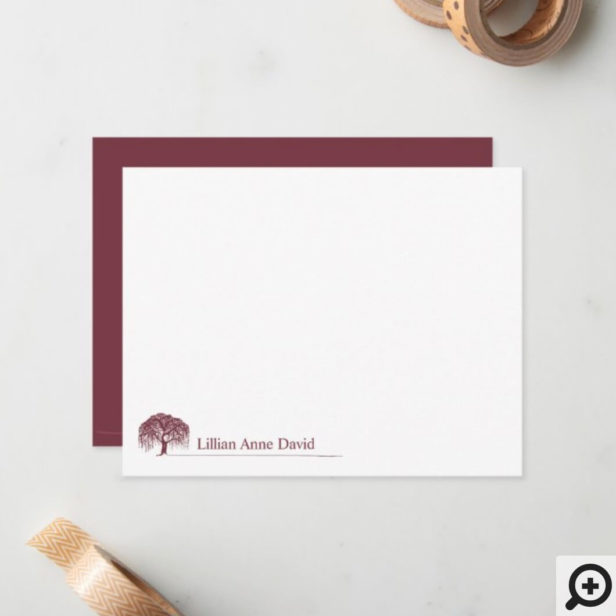 Modern Burgundy Willow Tree Logo Personalized Note Card