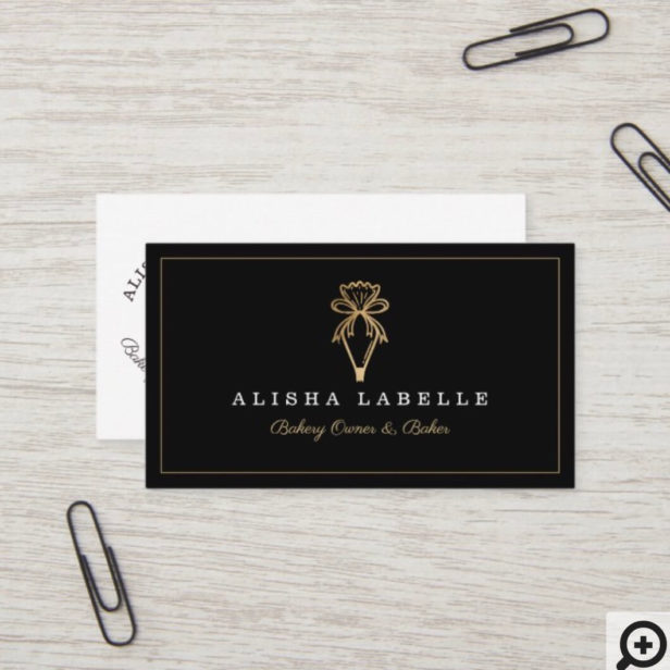 Modern & Chic Bakery Piping Bag Logo Black & Gold Business Card