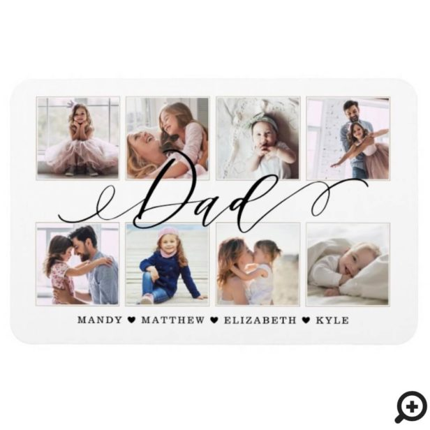 Modern Dad Script | Gift For fathers Photo Collage Magnet