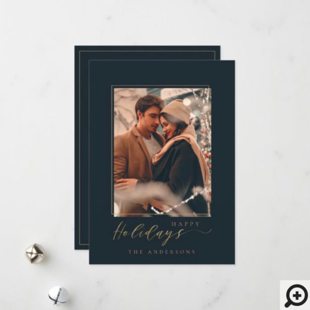 Modern & Elegant Photo Frame Happy Holidays Holiday Card