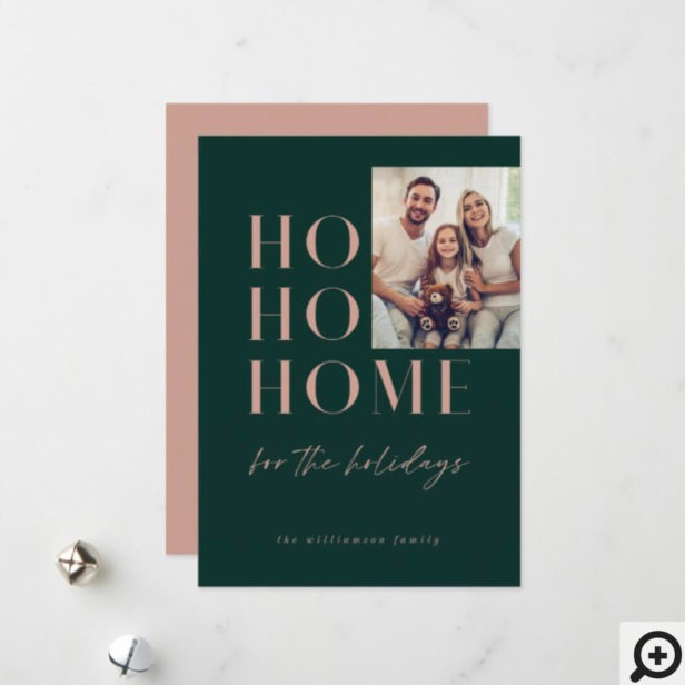 Modern Green HO HO Home for the Holidays Family Holiday Card