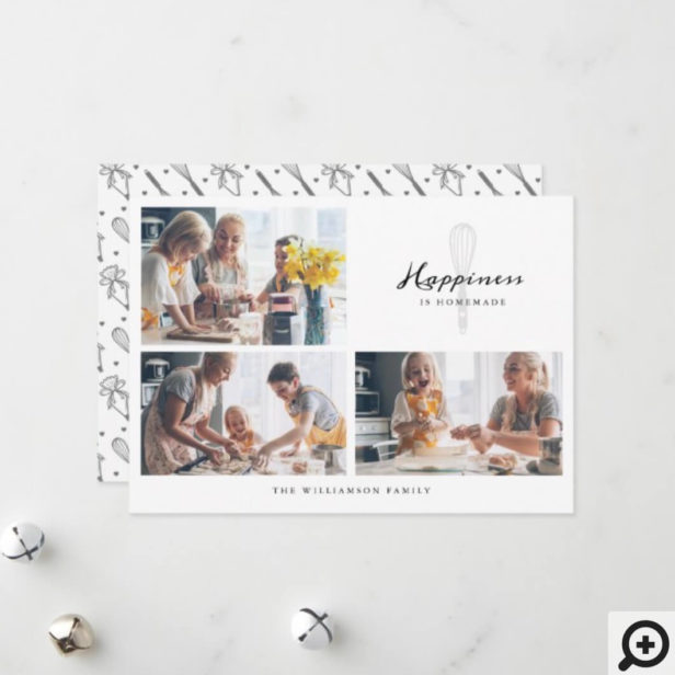 Modern Happiness Is Homemade Bakery Whisk Photo Holiday Card