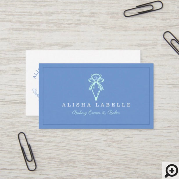 Modern & Minimal Bakery Style Piping Bag Logo Blue Business Card