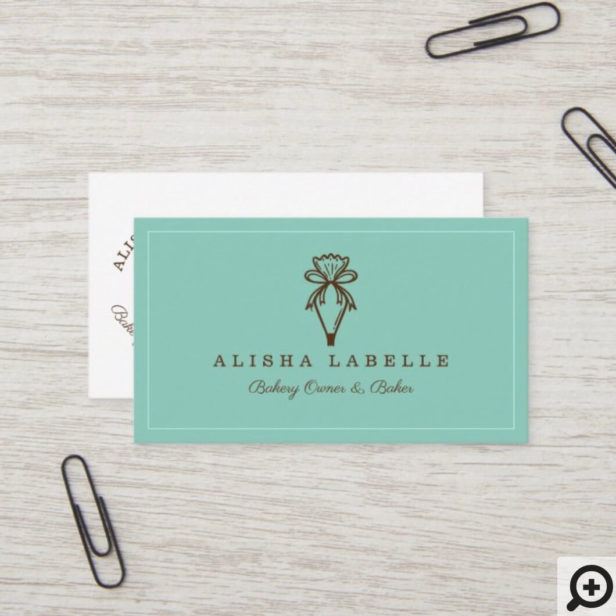 Modern & Minimal Bakery Style Piping Bag Logo Teal Business Card