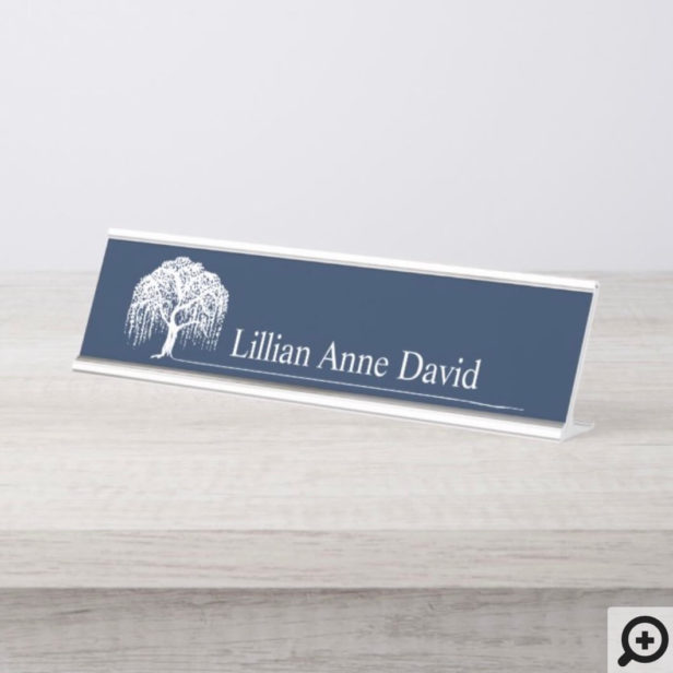 Modern Navy Blue Willow Tree Logo Personalized Desk Name Plate