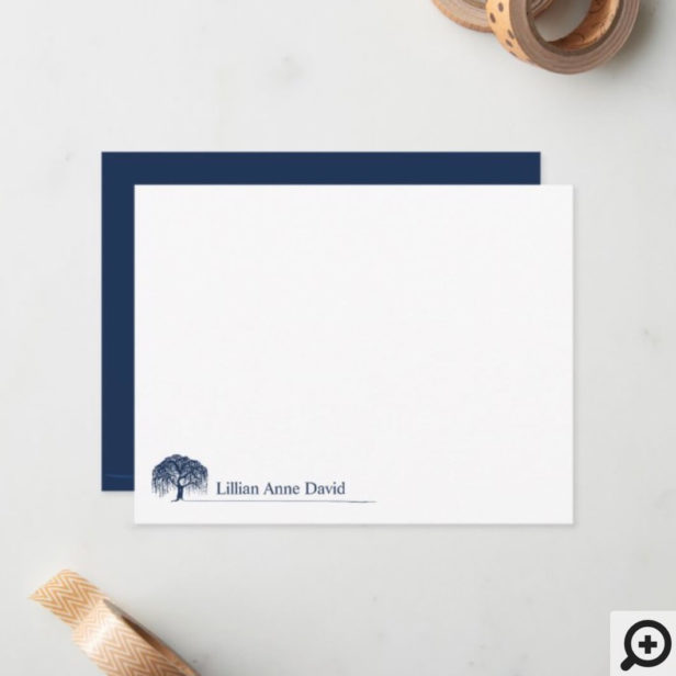 Modern Navy Blue Willow Tree Logo Personalized Note Card