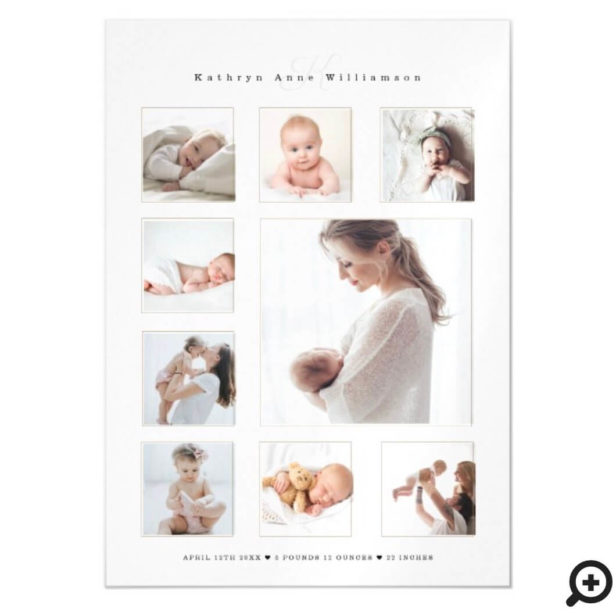 Modern Newborn Baby Photo Collage & Monogram Birth Magnetic Invitation