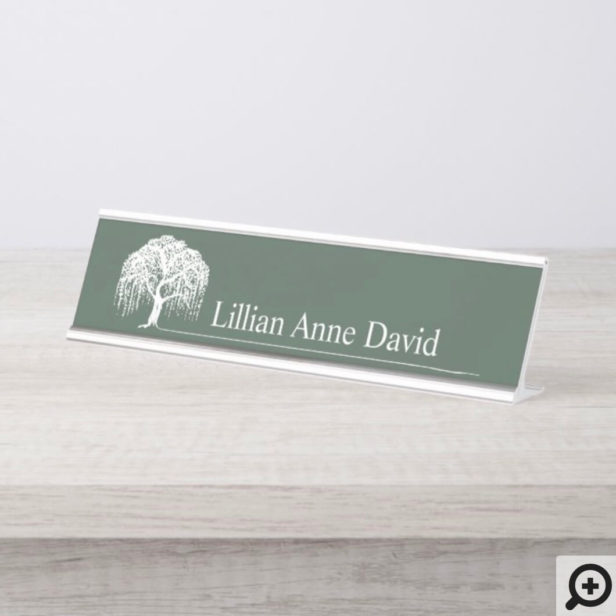 Modern Olive Green Willow Tree Logo Personalized Desk Name Plate