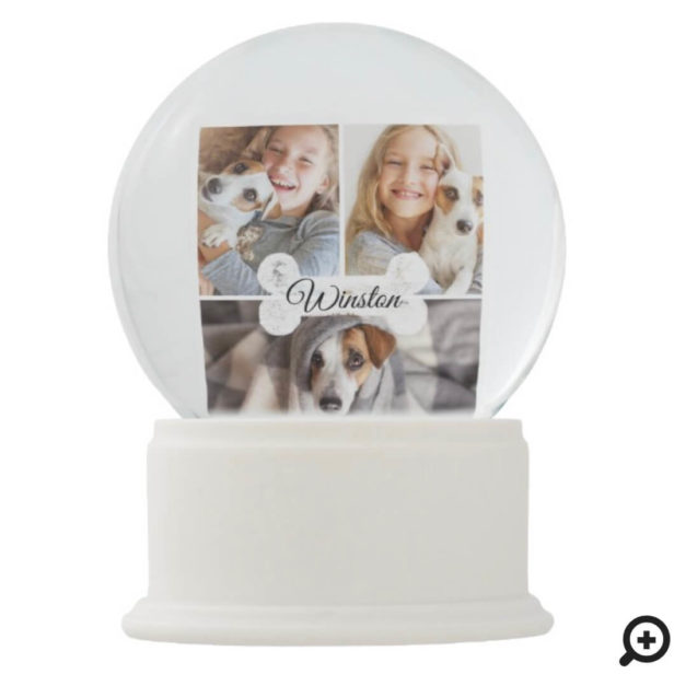 Modern Pet Dog Bone Three Photo Collage Memorial Snow Globe